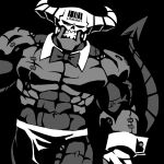 1boy abs black_background bow bowtie clenched_teeth cowboy_shot demon demon_boy demon_tail detached_collar english_commentary greyscale helltaker horns looking_at_viewer male_focus monochrome solo subject_67_(helltaker) tail teeth vanripper