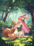 afk_arena animal animal_ears bangs bug bush butterfly character_request deer fawn flower forest gloves green_eyes hair_flower hair_ornament head_wreath highres leaf long_hair naimiaomiaomiaomiao nature outdoors pink_hair pleated_skirt rabbit_ears skirt sunlight tree white_gloves