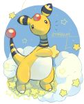 ampharos black_eyes blush commentary_request full_body holding looking_at_viewer no_humans pokemon pokemon_(creature) signature solo standing star_(symbol) tansho