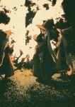 4girls black_headwear bonfire grey_hair highres long_hair multiple_girls original outdoors potg_(piotegu) red_eyes ritual witch