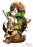 1girl absurdly_long_hair bare_shoulders breasts brown_hair closed_mouth crown green_jacket highres holding holding_mallet jacket large_breasts long_hair looking_at_viewer mallet mini_crown omuro_musume platform_footwear rosary sandals simple_background sitting smile solo souji_hougu very_long_hair white_background