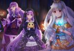 3girls absurdres bangs blue_dress blue_hair bug candy cape collarbone commission dress eating eyebrows_visible_through_hair fire_emblem fire_emblem:_path_of_radiance fire_emblem:_the_binding_blade fire_emblem:_the_blazing_blade fire_emblem_heroes food frilled_dress frills gloves hair_ornament halloween halloween_costume highres holding ilyana_(fire_emblem) jack-o'-lantern jewelry lolita_fashion long_hair long_sleeves looking_at_viewer multiple_girls necklace nei_(aduma1120ponpon) night ninian_(fire_emblem) official_alternate_costume pantyhose pumpkin purple_hair red_eyes ribbon skeb_commission smile sophia_(fire_emblem) spider stuffed_animal stuffed_toy tied_hair tree veil very_long_hair violet_eyes wrist_cuffs