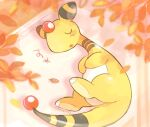 ampharos blush_stickers closed_eyes commentary_request from_above leaf lying no_humans on_side pokemon pokemon_(creature) signature sleeping solo tansho