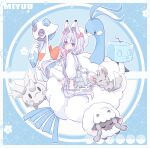 1girl altaria animal_ear_fluff animal_ears asa_no_ha_(pattern) backpack bag bangs beret bird blue_background blush bow clouds coral corsola deviantart_username eiscue english_commentary facebook_username flower fox_ears froslass galarian_corsola ghost grey_hair hair_bow hat highres holding holding_poke_ball ice ice_cube long_hair long_sleeves looking_at_viewer low_twintails minccino miyuu_(roku21) original penguin pink_bow pink_eyes poke_ball poke_ball_print pokemon pokemon_(creature) premier_ball puffy_long_sleeves puffy_sleeves roku21 sheep shirt sitting sitting_on_cloud skirt solo toyhouse_username twintails twitter_username very_long_hair white_bag white_headwear white_legwear white_shirt white_skirt wooloo