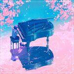 1girl cherry_blossoms hood hoodie instrument original outdoors piano pleated_skirt reflection skirt surreal wacca005 water white_legwear