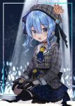 1girl :d absurdres belt black_choker black_legwear blue_belt blue_bow blue_eyes blue_hair blue_nails blue_neckerchief blush bow choker crown dress fingernails gloves hair_bow hat highres hololive hoshimachi_suisei long_sleeves looking_at_viewer mini_crown nail_polish neckerchief noi_mine partially_fingerless_gloves plaid plaid_dress plaid_headwear side_ponytail single_thighhigh smile solo squatting stage_lights star_(symbol) star_in_eye symbol_in_eye thigh-highs