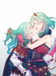 2girls absurdres aqua_hair bang_dream! braid couple demon_horns demon_tail demon_wings dress face-to-face gloves green_eyes hand_in_another's_hair highres hikawa_hina hikawa_sayo holding_tail horns hug incest long_hair looking_at_another multiple_girls red_dress red_gloves short_hair siblings sisters tail twins walluku wings yuri