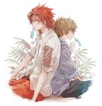 2boys alternate_costume back-to-back bangs black_pants blue_shirt brown_hair cropped_legs from_side gran_(granblue_fantasy) granblue_fantasy long_hair male_focus mouth_hold multiple_boys open_clothes open_shirt pants percival_(granblue_fantasy) plant red_pants redhead sawa2 shirt simple_background sitting spiky_hair wet white_background white_shirt