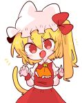 1girl alternate_species animal_ears ascot bell blonde_hair bow cat_ears cat_girl cat_tail ears_through_headwear fang flandre_scarlet hat hat_ribbon highres jingle_bell medium_hair mob_cap no_wings one_side_up op_na_yarou puffy_short_sleeves puffy_sleeves red_bow red_eyes red_skirt red_vest ribbon shirt short_sleeves side_ponytail simple_background skirt skirt_set solo tail touhou vest white_background white_shirt yellow_ascot