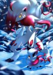 absurdres blurry claws closed_mouth commentary_request evolutionary_line footprints furry highres hisuian_zoroark hisuian_zorua kaichi_(tomiyu25) looking_down outdoors pokemon pokemon_(creature) signature snow snowing standing yellow_eyes