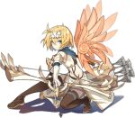 1girl ark_order arrow_(projectile) bangs blonde_hair blue_scarf boots bow_(weapon) brown_footwear crop_top detached_wings drawing_bow elbow_gloves feathered_wings forehead_protector full_body gloves gold_trim hair_intakes holding holding_arrow holding_bow_(weapon) holding_weapon icarus_(ark_order) jewelry k_suke_(weibo) looking_at_viewer midriff official_art orange_wings quiver ring scarf shirt short_hair skirt solo stomach tachi-e thigh-highs thigh_boots transparent_background weapon white_gloves white_shirt white_skirt wings