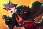 1boy alternate_costume animal_ears bangs belt black_neckwear checkered checkered_background claws collared_shirt danganronpa_(series) danganronpa_v3:_killing_harmony fangs fur-trimmed_jacket fur_trim grey_shirt halloween_costume hands_up highres jacket male_focus momota_kaito nagi_to_(kennkenn) necktie open_mouth orange_background pants pointy_nose red_vest shirt smile space_print star_(symbol) starry_sky_print striped striped_pants tail vest wolf_ears wolf_paws wolf_tail