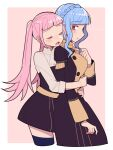2girls black_dress black_legwear blue_hair border braid buttons closed_eyes commentary commentary_request crown_braid do_m_kaeru double-breasted dress eyebrows_visible_through_hair fire_emblem fire_emblem:_three_houses hilda_valentine_goneril hug hug_from_behind long_sleeves marianne_von_edmund multiple_girls open_mouth pink_background pink_eyes pink_hair sigh sleeves_rolled_up thigh-highs twintails white_border yuri