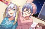 2girls :d ;d ^_^ alternate_hairstyle aqua_eyes asahi_rokka bang_dream! bangs behind_another black-framed_eyewear blue_hair blue_pajamas blush buttons character_doll closed_eyes collarbone commentary_request commission drying drying_hair dutch_angle fingernails frilled_shirt_collar frills glasses hair_between_eyes hair_bun hairband hands_on_another's_head hands_up highres indoors kurata_mashiro long_sleeves looking_at_viewer medium_hair multiple_girls nesoberi night nuenue one_eye_closed open_mouth open_window pajamas pink_hairband pink_pajamas poster_(object) shooting_star short_hair silver_hair skeb_commission smile star_(sky) striped striped_pajamas stuffed_toy teeth towel towel_on_head toyama_kasumi upper_body upper_teeth water_drop wet wet_hair window
