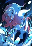 blurry claws closed_mouth commentary_request highres hisuian_zoroark night outdoors pokemon pokemon_(creature) sky snow solo star_(sky) tree yellow_eyes yottur