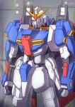 blurry blurry_background clenched_hands glowing glowing_eyes green_eyes gundam mecha military mobile_suit my_kakukak no_humans rx-78-2 science_fiction solo standing stationery v-fin zeta_gundam_(mobile_suit)