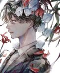 1boy absurdres brown_eyes brown_hair crying crying_with_eyes_open flower formal highres looking_down male_focus original orokudesu petals profile short_hair sidelocks solo spider_lily suit tears tulip white_background