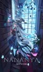 1girl black_cat blue_eyes book bookshelf cat fantasy hat highres indoors library long_hair naimiaomiaomiaomiao original pointy_ears ribbon scenery silver_hair stained_glass window witch witch_hat