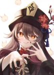 1girl :d black_headwear black_nails brown_hair flower genshin_impact hands highres hilichurl_(genshin_impact) horns hu_tao_(genshin_impact) long_hair long_sleeves looking_at_viewer mask nail_polish plum_blossoms prana_(prana12) red_eyes smile solo star-shaped_pupils star_(symbol) symbol-shaped_pupils twintails