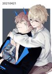 2boys bangs black_jacket blonde_hair blue_eyes brown_pants character_request closed_eyes closed_mouth grin horns hug hug_from_behind jacket joints long_sleeves multiple_boys open_mouth pants polos_crown punishing:_gray_raven robot_joints sachiko_y shirt short_hair smile teeth white_shirt