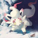 bright_pupils commentary_request highres hisuian_zorua kira_(kira_dra) leaf looking_to_the_side no_humans outdoors pokemon pokemon_(creature) snow snowing solo white_pupils yellow_eyes