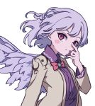 1girl :/ absurdres angel_wings arm_up bangs beige_jacket blush_stickers bow bowtie braid breasts collared_dress commentary_request dress emerald_(gemstone) feathered_wings french_braid hand_to_own_mouth highres kame_(kamepan44231) kishin_sagume long_sleeves looking_at_viewer medium_breasts one-hour_drawing_challenge purple_dress red_bow red_bowtie red_eyes short_hair silver_hair simple_background single_wing solo standing touhou upper_body white_background wing_collar wings