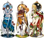 3girls black_hair blonde_hair blue_cape blue_eyes blue_hair blue_neckwear blue_skirt bob_cut boots brown_jacket cape chisa_(doko_tetora) closed_mouth colored_inner_hair doko_tetora eel flower green_footwear green_skirt grey_jacket hair_ornament hand_up hiama_(doko_tetora) highres jacket long_hair long_sleeves looking_at_viewer medium_hair midriff miniskirt multicolored_hair multiple_girls navel necktie orange_hair orange_legwear orange_skirt original pantyhose profile red_cape red_flower red_rose rei_(doko_tetora) rose simple_background skirt standing thigh_gap torn_cape torn_clothes two-sided_cape two-sided_fabric white_background x_hair_ornament yellow_cape