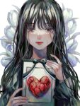 bangs black_bow black_hair blunt_bangs bow crying crying_with_eyes_open flower framed_image heart highres long_hair looking_at_viewer mole mole_under_eye mole_under_mouth original orokudesu red_flower red_lips tears tulip upper_body wavy_hair