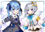 2girls :d absurdres amane_kanata blue_bow blue_bowtie blue_eyes blue_hair blue_neckerchief blush bow bowtie buttons closed_mouth colored_inner_hair crown double-breasted dress grey_hair grey_headwear hair_bow halo hat highres holding_hands hololive hoshimachi_suisei jacket looking_at_viewer mini_crown multicolored_hair multiple_girls neckerchief noi_mine plaid plaid_dress side_ponytail smile star_(symbol) star_halo star_in_eye striped striped_bow symbol_in_eye violet_eyes white_jacket