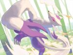 bamboo bamboo_forest claws commentary_request day forest incoming_attack kira_(kira_dra) leg_up mienshao nature open_mouth outdoors pokemon pokemon_(creature) red_eyes solo