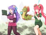 2girls :t adapted_costume alternate_hairstyle bike_shorts bike_shorts_under_shorts book closed_eyes commentary crescent crescent_hair_ornament dragon eating eyebrows_visible_through_hair food food_on_face fork green_shirt green_shorts hair_ornament highres hong_meiling jogging long_hair multiple_girls open_mouth patchouli_knowledge pink_shorts plate ponytail purple_hair redhead running shirosato shirt short_shorts shorts sleeping star_(symbol) star_hair_ornament sweat touhou twintails very_long_hair violet_eyes zzz