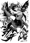 1girl 3boys animal_ears arm_behind_head bandana black_hair boots breasts cigarette collarbone commentary_request cowboy_hat dated fingerless_gloves fingernails gloves grin gun hat heran_hei_mao holding holding_gun holding_weapon horse_tail kurokoma_saki large_breasts leg_up long_hair looking_at_viewer monochrome multiple_boys off-shoulder_shirt off_shoulder pegasus_wings plaid plaid_skirt pointing pointing_up puffy_short_sleeves puffy_sleeves sharp_teeth shirt short_shorts short_sleeves shorts skirt smile tail teeth thigh_strap thighs tongue tongue_out touhou weapon wolf_ears wolf_spirit_(touhou) wolf_tail