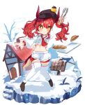 +_+ 1girl :o absurdres apron baguette black_headwear blush braid bread buttons cabbie_hat dot_nose double-breasted dragon_horns dragon_tail food hand_up hat highres holding horns house long_hair long_sleeves looking_at_viewer midriff navel neckerchief noi_mine original red_neckerchief red_shorts redhead shirt shorts sign snow solo tail thigh-highs tongs tray twintails waist_apron white_apron white_legwear white_shirt yellow_eyes