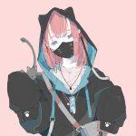 1girl absurdres bangs blue_eyes cat highres hood hoodie mask mouth_mask nocopyrightgirl original piercing pink_hair redhead