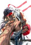 absurdres bandage_on_face bandages black_hair dougi fingerless_gloves gloves headband highres looking_at_viewer male_focus muscular official_art punching ryu_(street_fighter) simple_background street_fighter street_fighter_ii_(series) white_background yasuda_akira