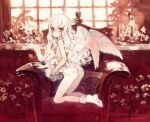 1girl angel_wings armchair ass blush bobby_socks chair dated feathered_wings full_body highres kneeling koishikawa_kohane long_hair looking_at_viewer looking_back oyari_ashito pale_skin parted_lips period period_sweet_drops red_eyes redrawn signature socks solo wavy_hair white_hair white_wings window wings