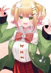 1girl :d absurdres bangs blonde_hair breasts fang flower green_eyes green_jacket hair_flower hair_ornament hairclip hands_up highres hololive jacket looking_at_viewer momosuzu_nene multicolored_hair open_mouth orange_hair orange_nails pink_hair pleated_skirt puffy_sleeves red_skirt ribbon-trimmed_clothes ribbon_trim shirt short_hair side_ponytail sidelocks simple_background skirt smile solo star_(symbol) star_print streaked_hair tongue vellqtrix virtual_youtuber white_shirt