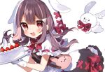 1girl :3 :d absurdres animal_hood bag black_dress bow bowtie brown_hair bunny_hood cake dress food fruit gloves highres holding holding_cake holding_food hood hood_up indie_virtual_youtuber long_hair looking_at_viewer low_twintails noi_mine official_art rabbit red_bow red_bowtie red_eyes shoulder_bag simple_background smile solo strawberry strawberry_shortcake twintails uchamochi_mochi white_background white_gloves