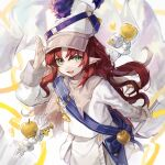 1girl apple arknights cape drum drum_major drumsticks flag food fruit golden_apple green_eyes hat highres holding holding_flag instrument long_hair long_sleeves looking_at_viewer mayf42 myrtle_(arknights) myrtle_(light_gold_celebration)_(arknights) official_alternate_costume open_mouth pointy_ears redhead smile trumpet white_cape white_flag white_headwear