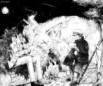 2boys asapbn boned_meat campfire donquixote_rocinante eating fire food fur_coat greyscale hat headwear_request meat monochrome multiple_boys night one_piece sitting smoke smoking sword trafalgar_law weapon