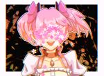 1girl abstract_background arms_at_sides black_background border cherry_blossoms choker chromatic_aberration close-up collarbone covered_eyes face facing_viewer flat_chest floating_hair flower flower_over_eyes frills hair_ribbon kaname_madoka lether mahou_shoujo_madoka_magica open_mouth outline pink_flower pink_hair pink_ribbon pink_theme puffy_short_sleeves puffy_sleeves red_choker red_ribbon ribbon ribbon_choker shiny shiny_hair short_sleeves short_twintails simple_background smile solo soul_gem teeth twintails upper_body upper_teeth white_border white_flower white_outline