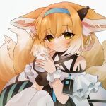 1girl animal_ear_fluff animal_ears arknights bangs bare_shoulders black_gloves blonde_hair blue_hairband blush braid brown_eyes closed_mouth commentary_request cup eyebrows_visible_through_hair fox_ears fox_girl fox_tail gloves gradient_hair grey_background hair_between_eyes hair_rings hairband highres holding holding_cup knees_up kyuubi looking_at_viewer mug multicolored_hair multiple_tails pantyhose shirt simple_background single_glove single_wrist_cuff sitting smile solo steam suzuran_(arknights) tail takumi_mizuki twin_braids white_hair white_legwear white_shirt wrist_cuffs