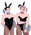 2boys ace_attorney animal_ears ass_visible_through_thighs bangs bare_arms bare_shoulders black_leotard blush bow bowtie commentary_request cropped_torso crossdressing detached_collar fake_animal_ears feet_out_of_frame green_(grimy) highres holding holding_tray leotard light_brown_hair male_focus male_playboy_bunny miles_edgeworth motion_lines multiple_boys pantyhose parted_bangs pectoral_cleavage pectorals phoenix_wright rabbit_ears rabbit_tail short_hair sideburns strapless strapless_leotard tail thick_thighs thighs translation_request tray white_background wing_collar wrist_cuffs