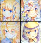 4girls akirannu animal_hood bangs bare_shoulders blonde_hair blue_eyes blue_ribbon closed_mouth collarbone copyright_request eyebrows_visible_through_hair fang fang_out fate/grand_order fate_(series) hair_between_eyes hair_ribbon headpiece highres hood hood_up horns meltryllis_(fate) meltryllis_(swimsuit_lancer)_(fate) multiple_girls penguin_hood pointy_ears portrait purple_hair ribbon sailor_collar shikishi silver_hair smile thick_eyebrows violet_eyes white_sailor_collar
