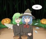 2girls alternate_costume bangs basket black_dress blue_eyes blue_hair buttons cirno daiyousei dark dress english_commentary english_text fairy fairy_wings fangs green_eyes green_hair halloween halloween_costume hat hat_ribbon highres holding ice ice_wings jack-o'-lantern long_sleeves mata_(matasoup) multiple_girls open_mouth red_neckwear ribbon short_hair side_ponytail standing touhou trick_or_treat wings witch_hat