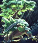 claws closed_mouth commentary_request forest from_below fusenryo highres light_rays nature no_humans pokemon pokemon_(creature) red_eyes solo spikes torterra tree