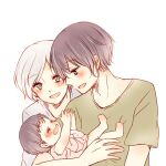 1boy 2girls :d arms_up baby bangs black_hair blush brown_shirt crying eyebrows_visible_through_hair family father_and_daughter holding holding_person husband_and_wife kirishima_arata kirishima_hikari kirishima_touka mother_and_daughter multiple_girls profile shirt short_hair simple_background smile tears tokyo_ghoul toukaairab upper_body white_background white_hair younger