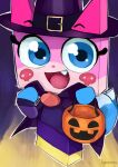 1girl alternate_costume artist_name blue_eyes capelet cat fang halloween halloween_bucket halloween_costume hat karasuma234 lego looking_at_viewer open_mouth princess_unikitty pumpkin skull_print solo tail the_lego_group the_lego_movie witch witch_hat