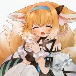 1girl :d ^_^ animal_ear_fluff animal_ears arknights bangs bare_shoulders black_gloves blonde_hair blue_hairband braid closed_eyes cup eyebrows_visible_through_hair facing_viewer foam_mustache fox_ears fox_girl fox_tail gloves gradient_hair grey_background hair_between_eyes hair_rings hairband highres holding holding_cup knees_up kyuubi mug multicolored_hair multiple_tails pantyhose shirt simple_background single_glove single_wrist_cuff sitting smile solo steam suzuran_(arknights) tail takumi_mizuki translation_request twin_braids white_hair white_legwear white_shirt wrist_cuffs