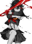 1girl absurdres fighting_stance greyscale highres holding holding_weapon kill_la_kill knees_up limited_palette matoi_ryuuko midriff monochrome multicolored_hair navel partially_colored pleated_skirt redhead school_uniform scissor_blade senketsu short_sleeves simple_background skirt solipsist solo spot_color stomach streaked_hair two-tone_hair weapon white_background